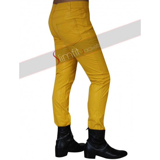 Freddie Mercury Yellow Leather Pant