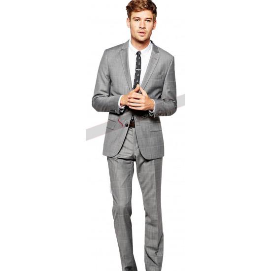 Grey Check Linen-Blend Slim Suit