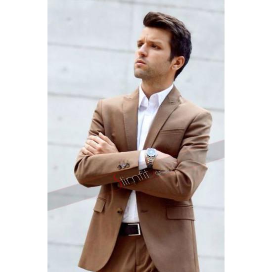 Slim Fit Mens Brown 2 Button Suit