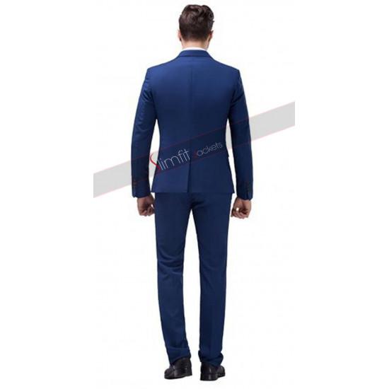 Slim Fit Peak Lapel Blue Suit