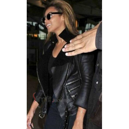 Beyonce Balmain Shearling Black Jacket