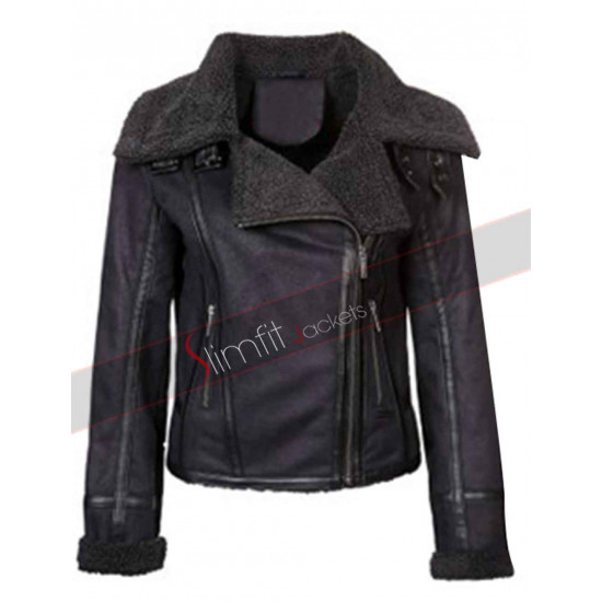 Perrie Edwards Black Leather Jacket