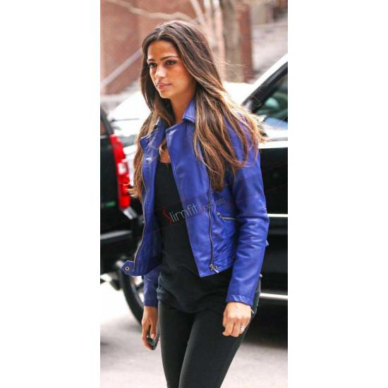 Camila Alves Blue Biker Style Leather Jacket