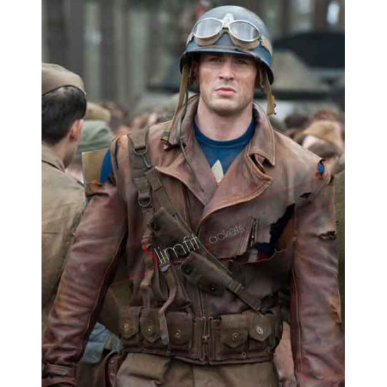 First Avenger Captain America Brown Distressed Jacket