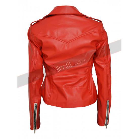 Charlotte McKinney Stylish Red Leather Jacket
