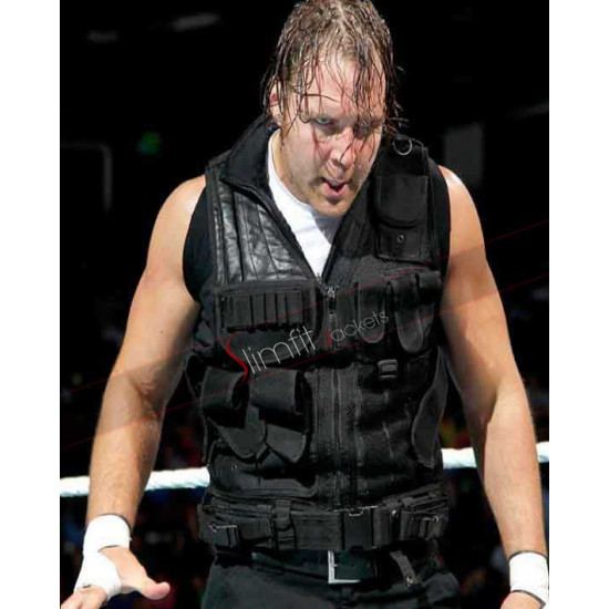 Dean Ambrose WWE Shield Black Leather Vest