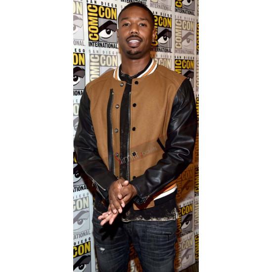 Michael B. Jordon Comic Con 2017 Brown Leather Jacket