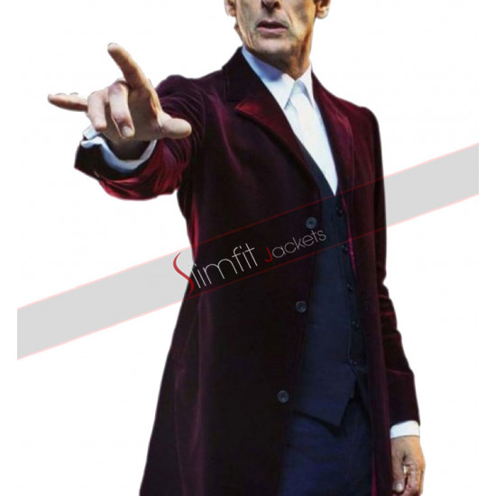 Doctor Who Season 9 Twelfth Doctor (Peter Capaldi) Velvet Maroon Coat