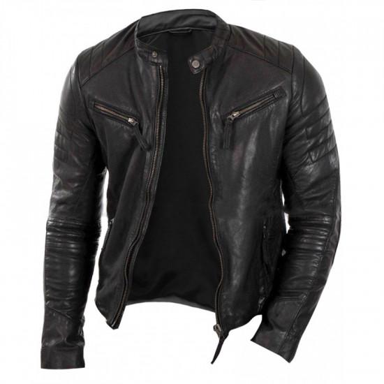 Men Slim Fit Vintage Cafe Racer Quilted Black Biker Leather Jacket