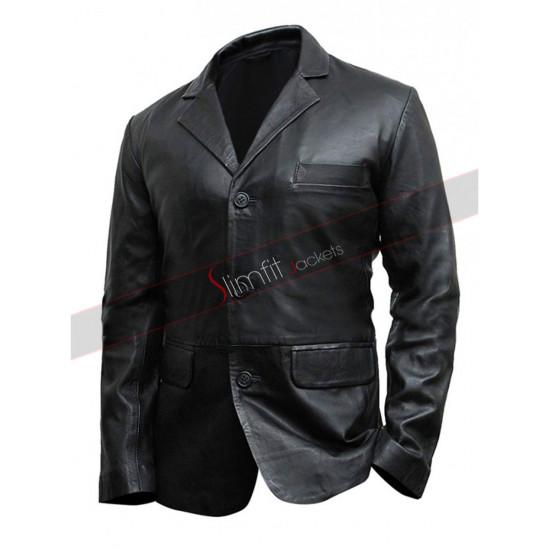 Black Multi Pockets Leather Biker Jacket