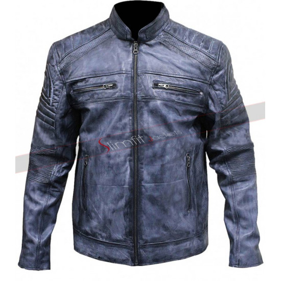 Men Style Cafe Racer Distressed Blue biker Vintage Jacket