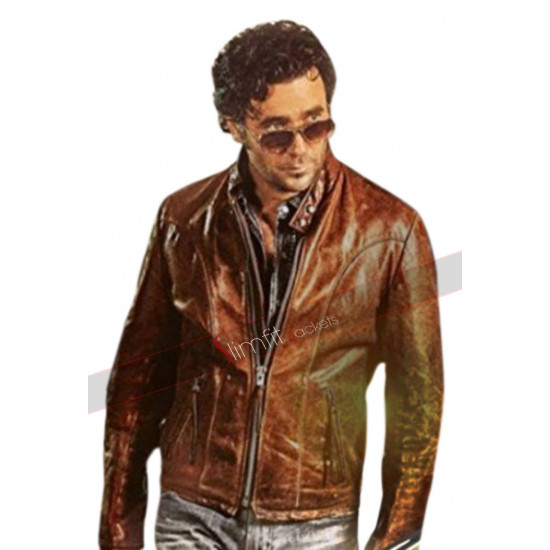 Caught Allan Hawco Cognac Brown Leather Jacket