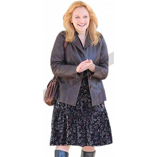 Elisabeth Moss The Kitchen Dark Brown Leather Jacket