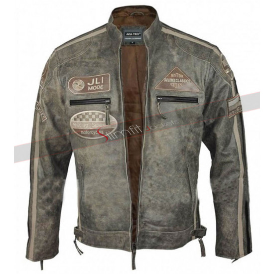 Mens Desert Vintage Jli Mode Urban Retro Biker Jacket