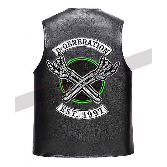 DX Logo Black Leather Vest