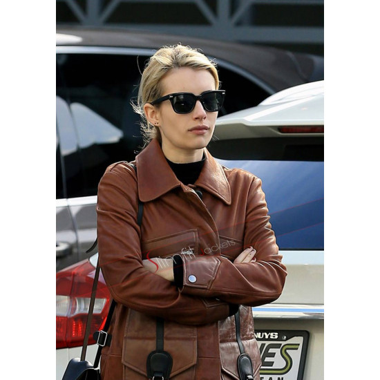 Emma Roberts Evan Peters Step Out Lunch Trench Leather Coat