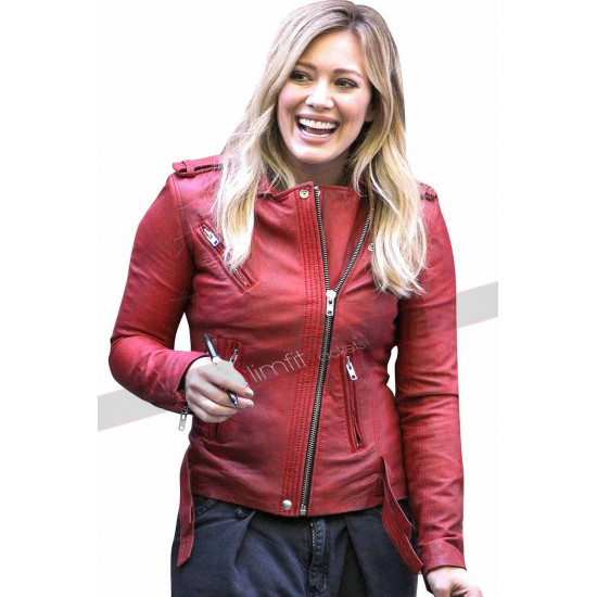 Younger Hilary Duff American TV Series Red Leather Jacket