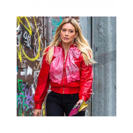 Hilary Erhard Red Duff Stylish Leather Jacket