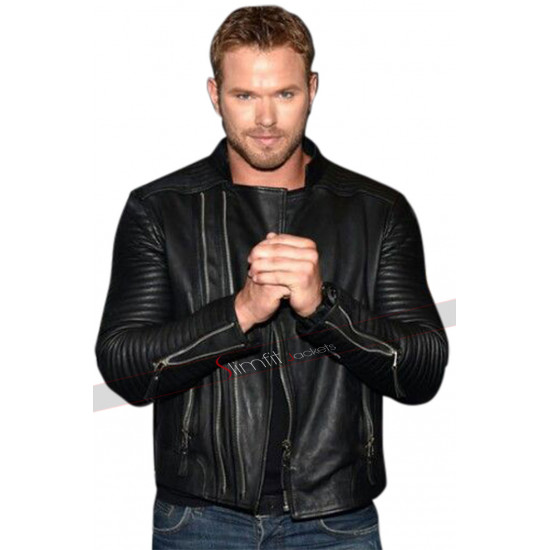 Kellan Lutz Slimfit Marlon Brando Biker Black Leather Jacket