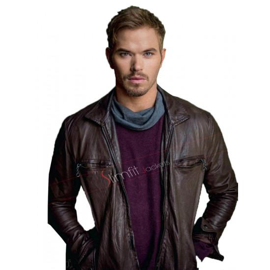 Kellan Lutz Biker Brown Leather Jacket