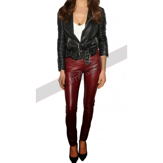 Maggie Q Biker Leather Jacket Pants