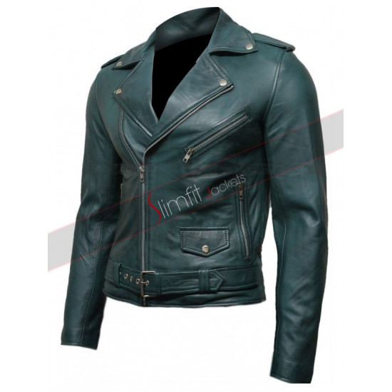 Green Vintage Men's Belted Motorcycle Leather Jacket