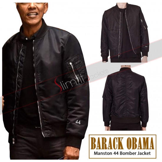 Barack Obama Manston 44 Black Bomber Jacket