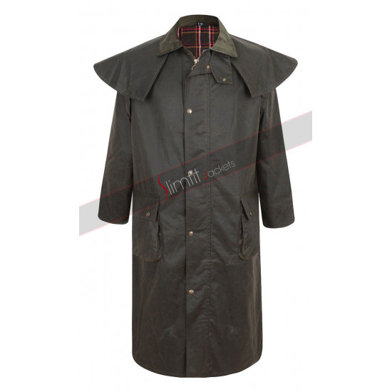 Men's Deluxe Portmann Stockman Long Cape Hood Wax Coat
