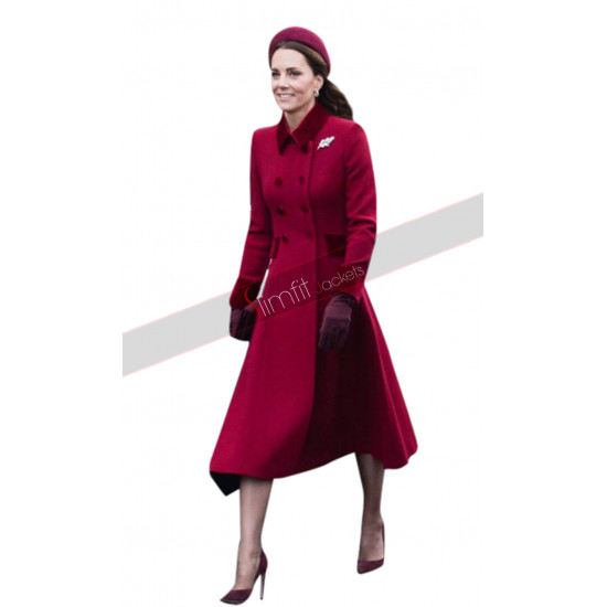 Princess Kate Middleton Red Long Coat