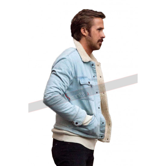 Ryan Gosling Denim Fur blue jacket