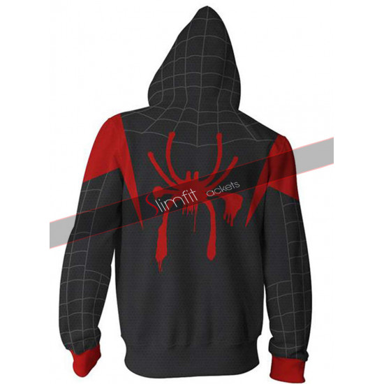 Spiderman Into The Spider Verse Cosplay Zip Up Hoodie