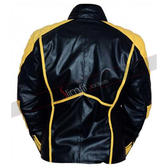 Superman Yellow Stripes Black Leather Jacket