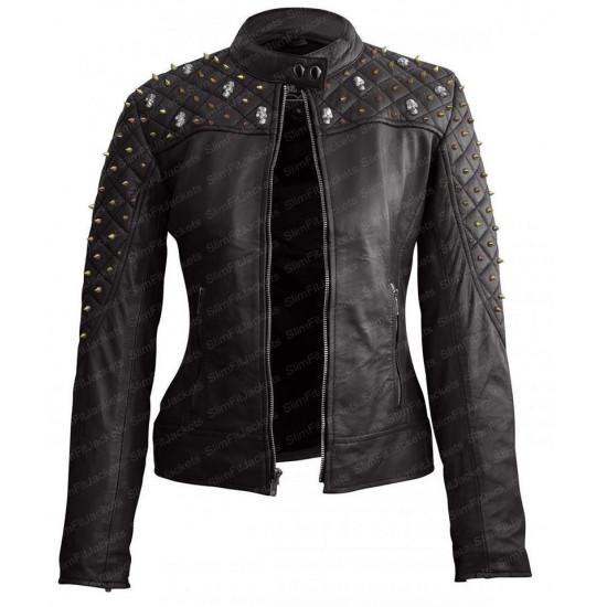 Womens Black Studded Biker Skull Quilted Leather Jacket