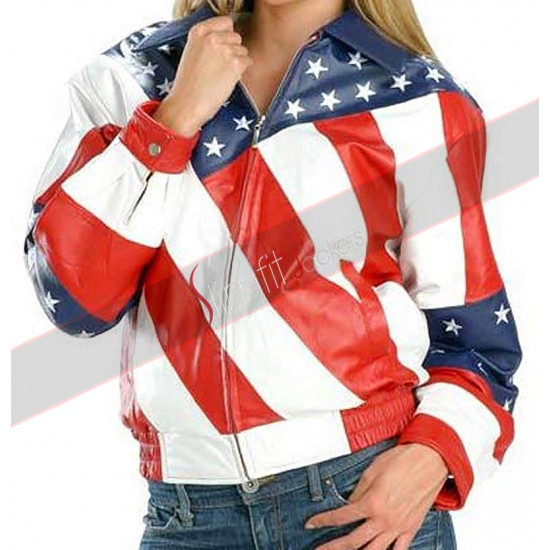 American Flag Women Vanilla Ice Costume Leather Jacket