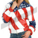 American Flag Women Vanilla Ice Costume Leather Jacket
