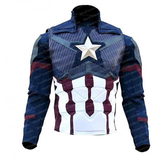 Captain America Avengers 4 Endgame Steve Rogers Blue Leather Jacket