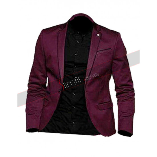 Burgundy Groom Tuxedos Notch Lapel Suit