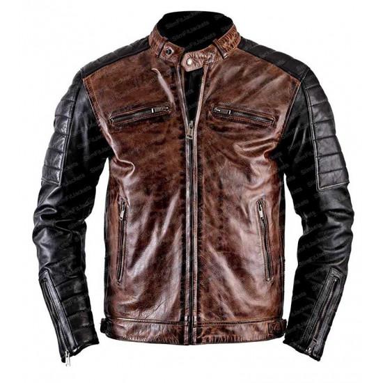 Men Cafe Racer Retro One Vintage Leather Jacket
