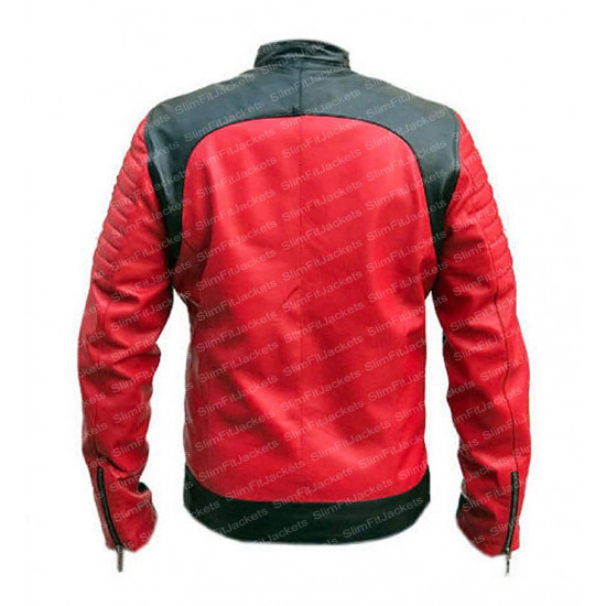Men Cafe Racer Red and Black Quilted Biker Leather Jacket