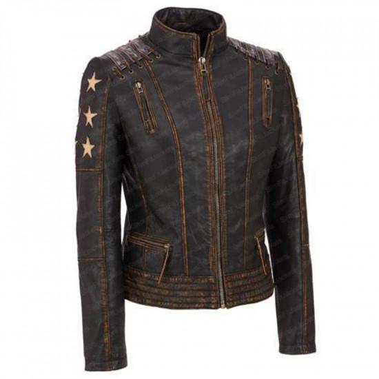 Cafe Racer Stars Brando Womens Biker Leather Jacket
