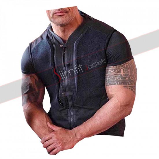 Hobbs And Shaw Luke Hobbs Rock Black Leather Vest