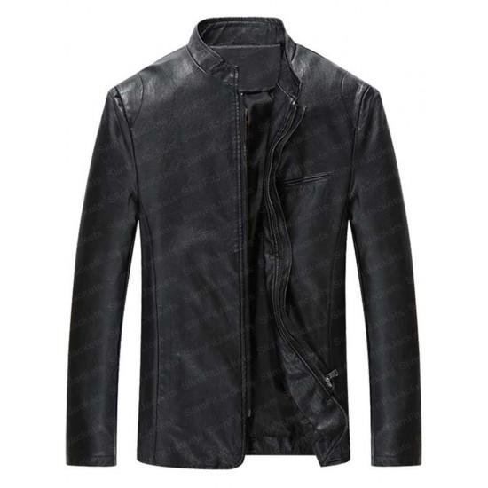 Men's Mandarin Collar Simple Biker Leather Jacket