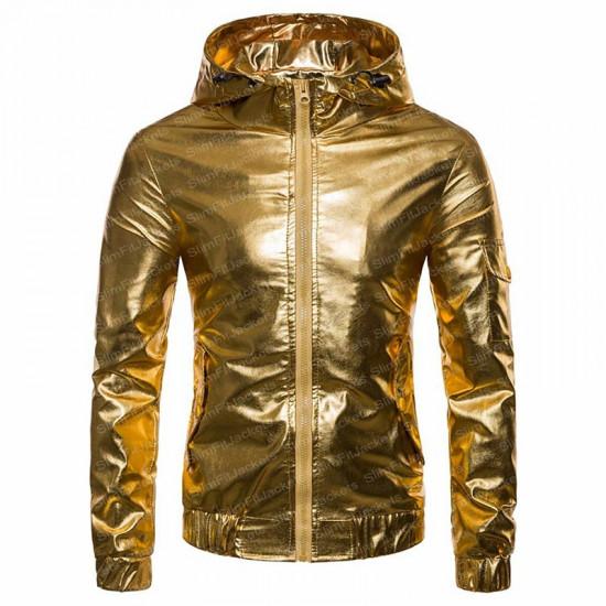 Men's Biker Hooded Satin Coat Jacket