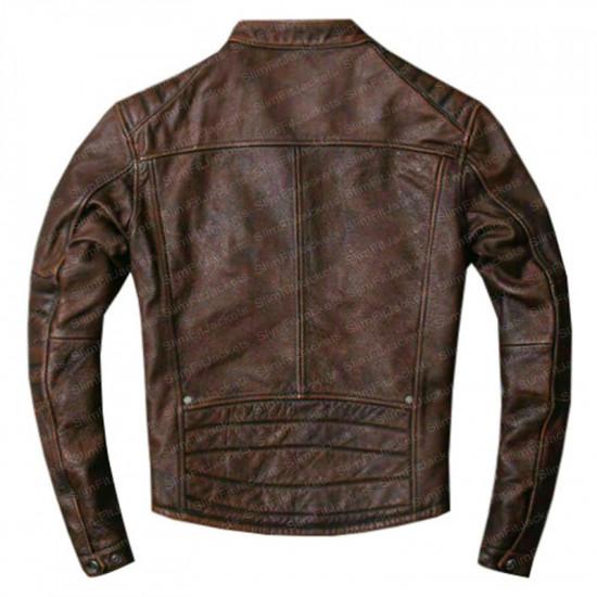 Men's Biker Vintage Cafe Racer Distressed Brown Leather Jacket