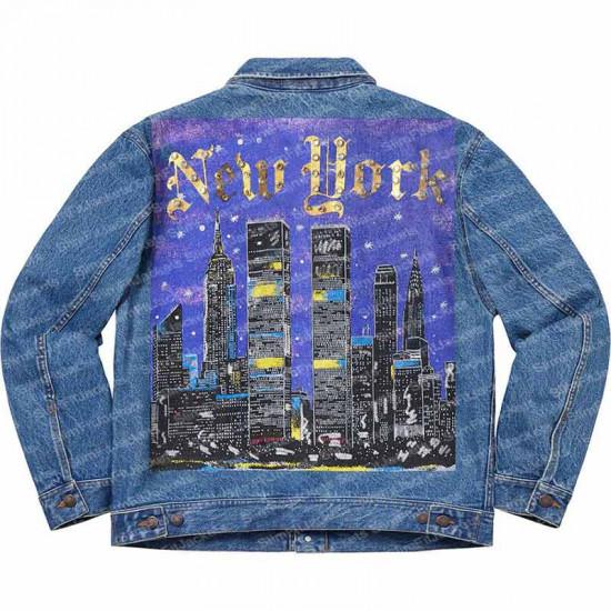 New York Painted Supreme Blue and Black Trucker Denim Jacket
