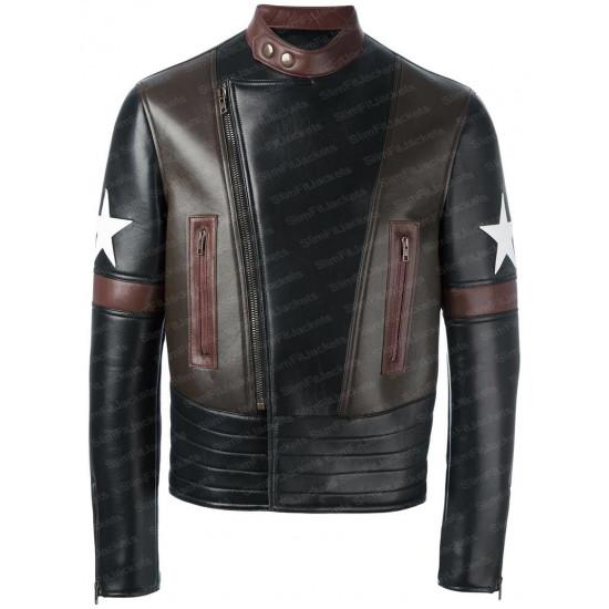 Black Star Patch Biker Leather jacket