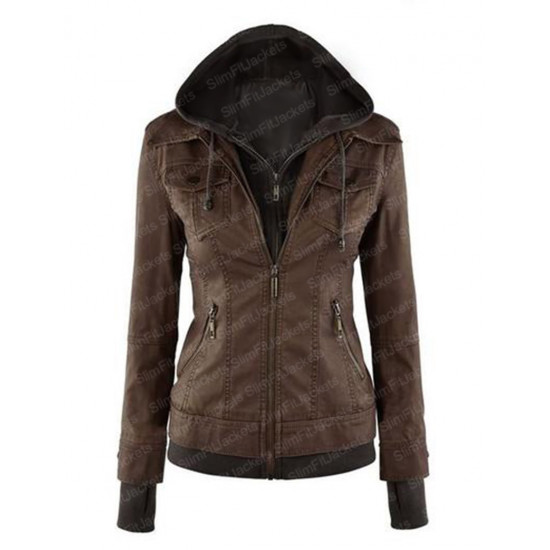 Women Leather Jacket With Removable Hoodie