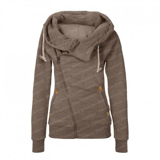 Women Asymmetrical Wool Hoodie Jacket