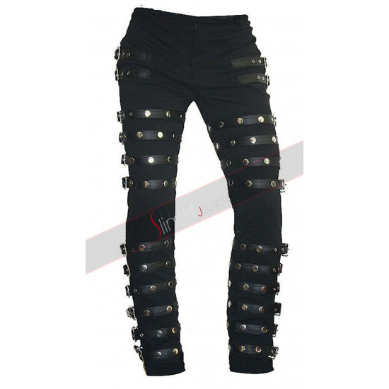 MJ BAD Concert Black Metal Rock Pants