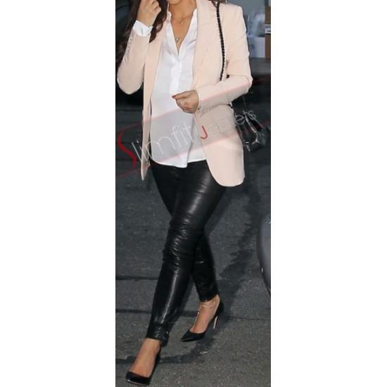 Replica Kim Kardashian Slimfit Black Leather Pant